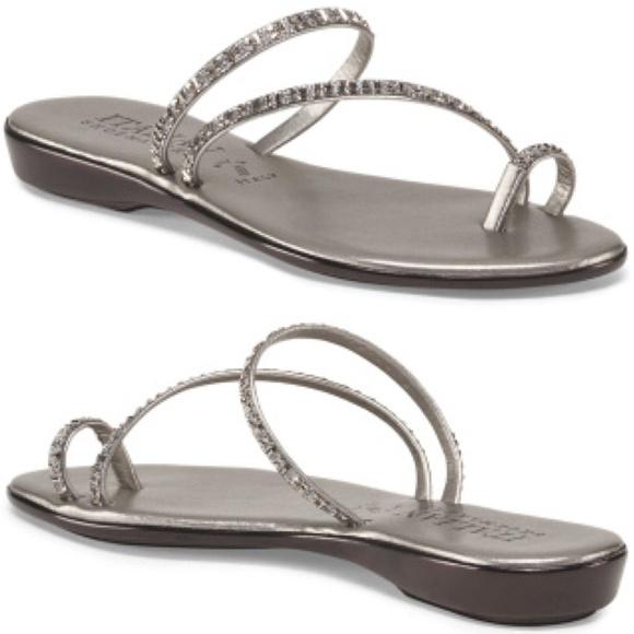 842f9bbf5b82b ITALIAN SHOEMAKERS Evita Toe Ring PEWTER Sandals